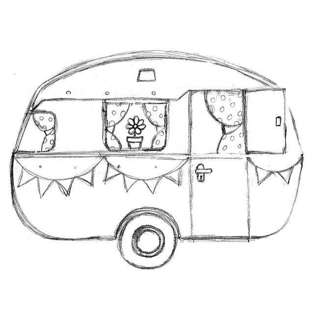 retro caravan kleurplaat