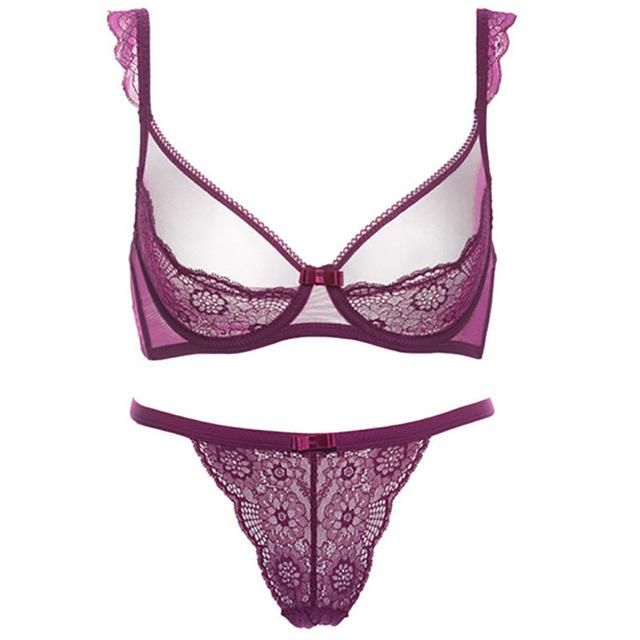 28a57f7bb5 Europe New Arrival lace Thin Cup Girl Translucent Undergarment Sexy Ladies Underwear  Bra Comfortable Breathable Bra Set ST022
