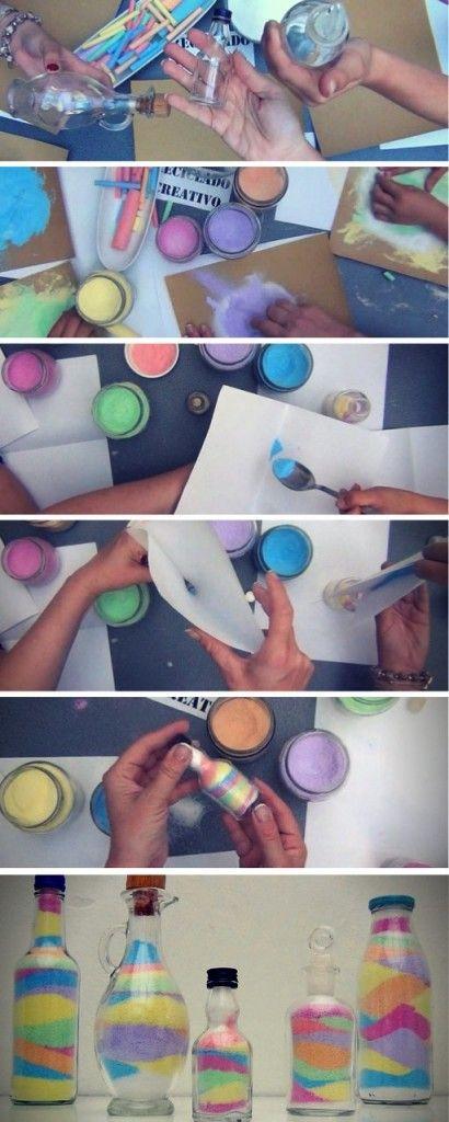 reutilizando botellas de cristal con tizas de colores https://www.youtube.com/watch?v=bGdqtqqpItg