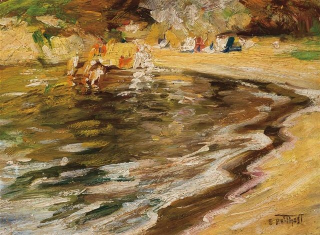 """""""Beach Scene - at the Water,"""" (also known as """"Sunday Beach""""), Edward Henry Potthast, oil on panel, 5 x 7"""", private collection."""