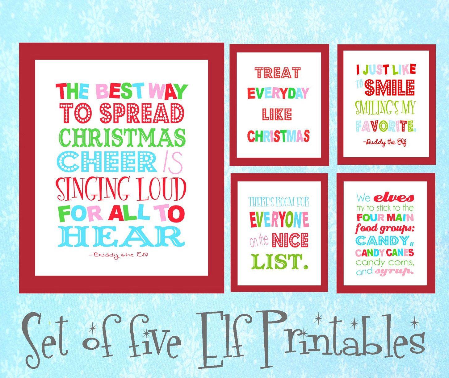 Six Buddy The Elf Christmas Digital Art Printables Various Etsy Buddy The Elf Quotes Elf Quotes Elf Printables