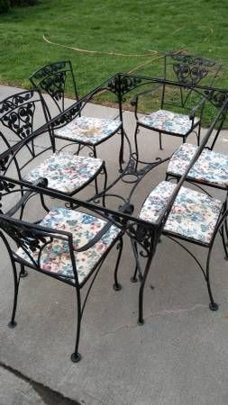 Wrought Iron Table And 6 Chairs Vintage Patio Furniture Wrought