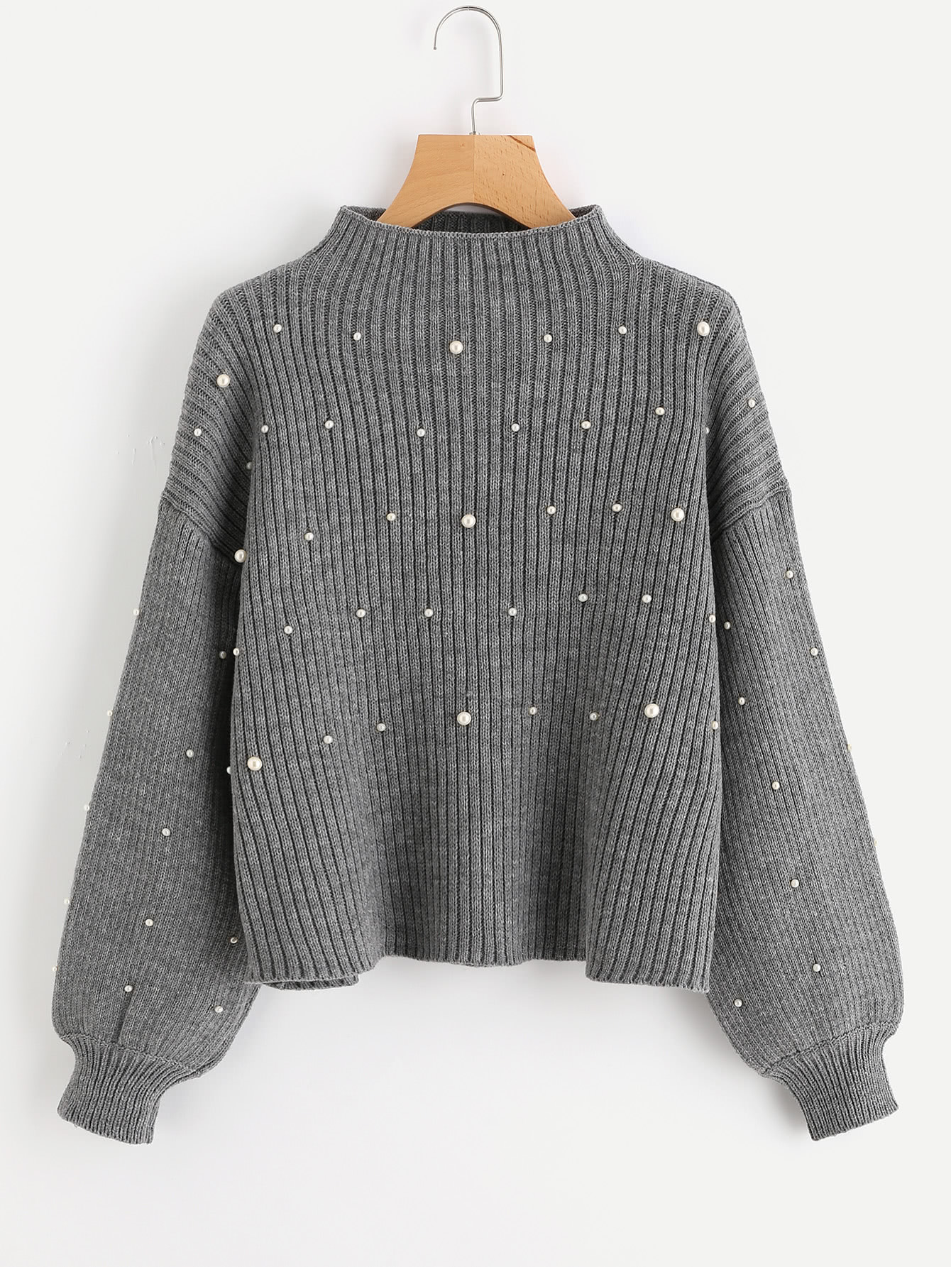 ee1f72df10 Shop Pearl Beaded Rib Knit Jumper online. SheIn offers Pearl Beaded Rib  Knit Jumper & more to fit your fashionable needs.