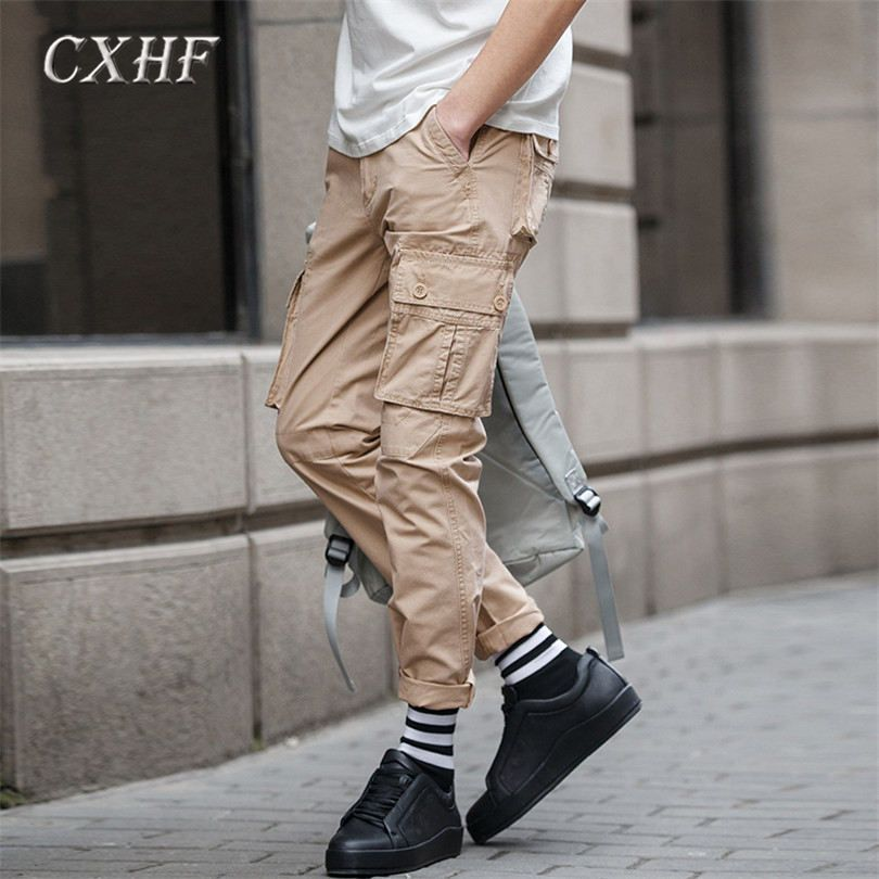 bd1c45c628 2017 Fashion Men Pants cotton Comfortable trend Cargo Pants for men trousers  with pocket decor casual new trend trousers pant