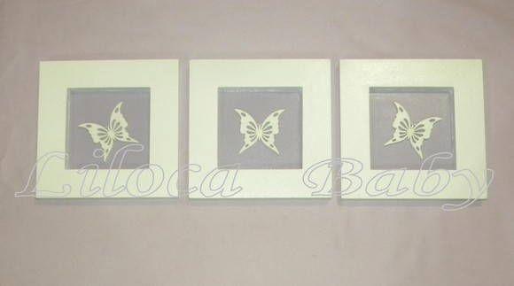 Conjunto 3 quadrinhos MDF com aplicação de borboletas Valor refere-se ao trio de quadrinhos. R$ 60,00