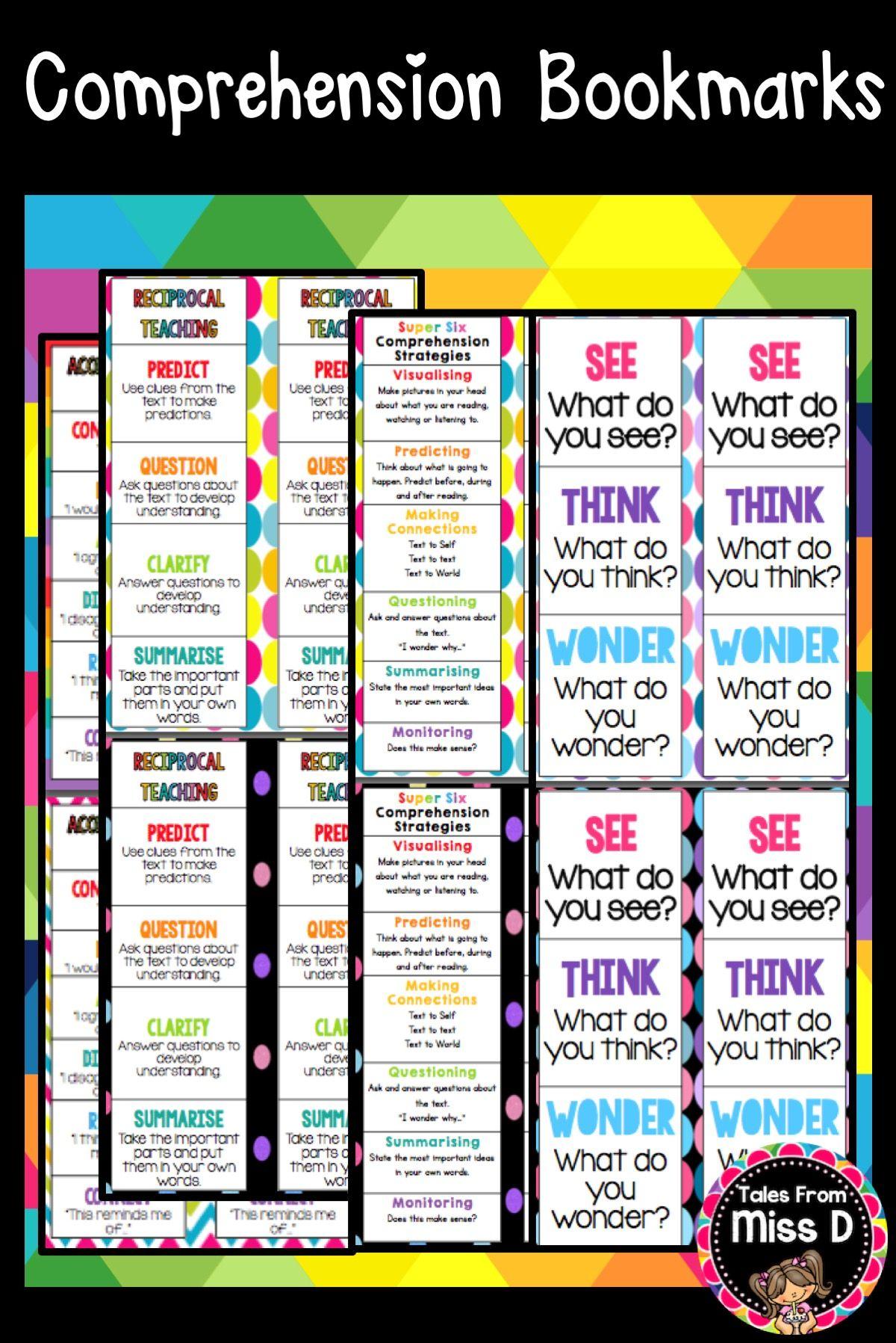 Comprehension Bookmarks For See Think Wonder Super Six