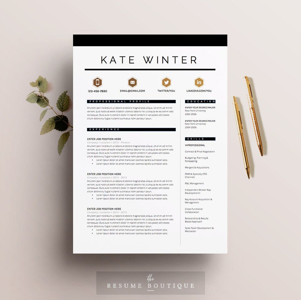 Resume Template 3pk CV Template Cover by TheResumeBoutique | Stand ...