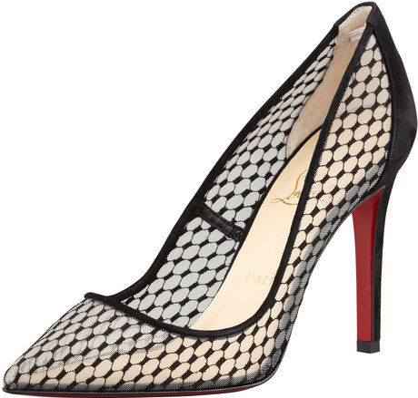5ae2f6ac3d48 CHRISTIAN LOUBOUTIN Pigaresille Lace Pattern Suede Red Sole Pump - Lyst