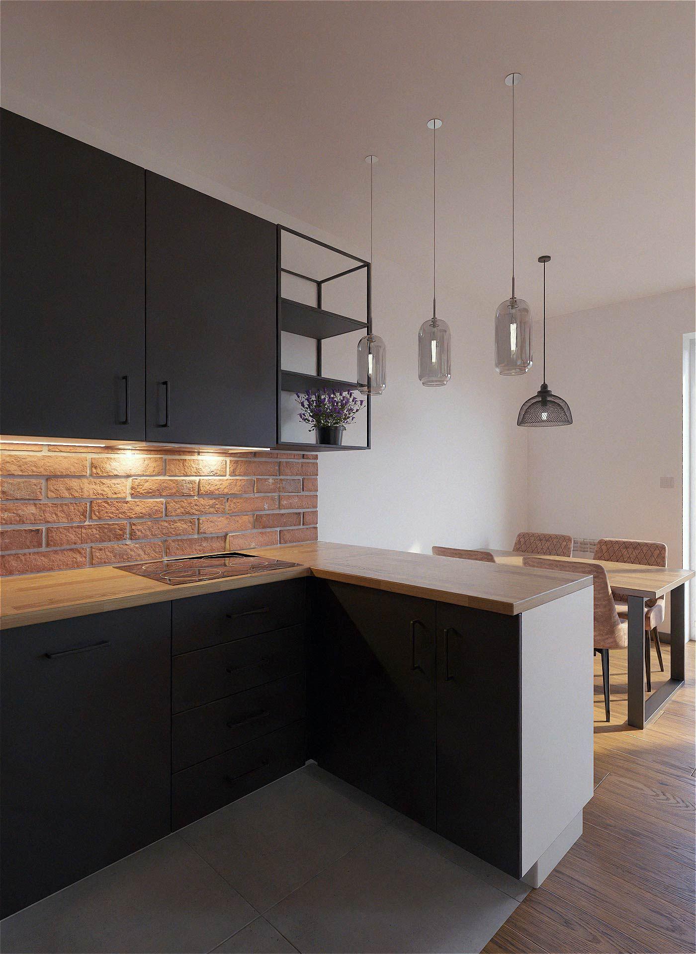 Kuchnia Ikea Kungsbacka W Stylu Industrialnym Loft Drewno Cegla Projekt Kuchni Na Wymiar Interior Design Kitchen Loft Kitchen Kitchen Interior