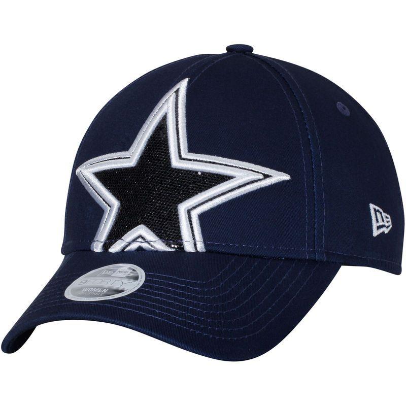 Dallas Cowboys New Era Women s Glitter Glam 2 9FORTY Adjustable Hat- Navy 6a3b164c8