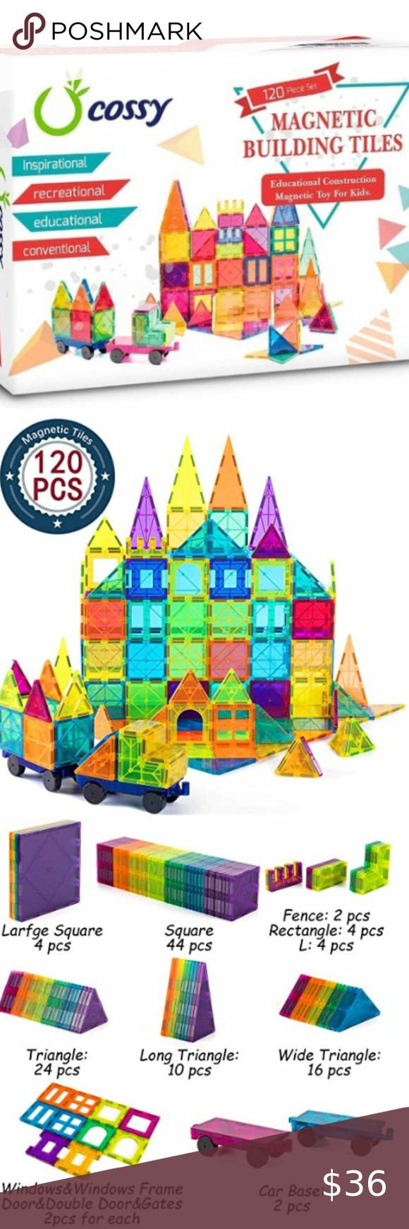 Cossy Magnetic Tiles Building Blocks Cossy Magnetic Tiles New Nwt And Sealed 120 Piece Set Recommended For Ages In 2020 Kids Magnets Magnetic Tiles Building Blocks
