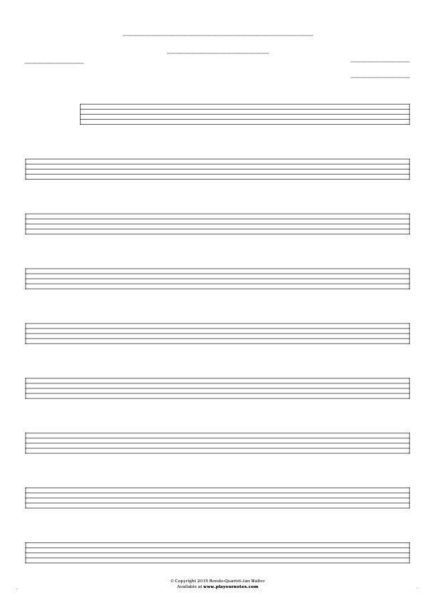 Free Blank Sheet Music - Notes for any instrument - large staves