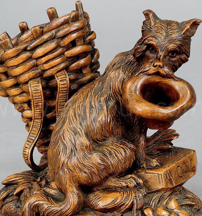 Black forest carved begging dog brienz ca
