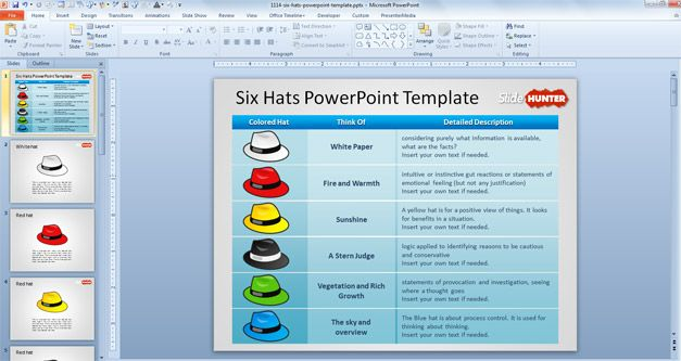 Six hats powerpoint inquiry learning pinterest social studies free six thinking hats powerpoint template is a free ppt template created to make presentations on problem solving using the de bono 6 thinking hats model toneelgroepblik Images