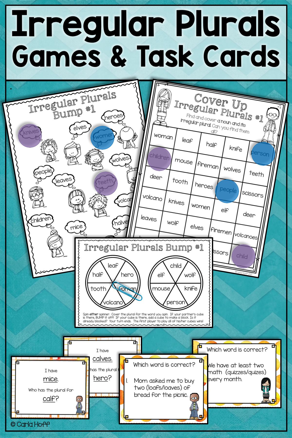Irregular Plurals Task Cards And Games