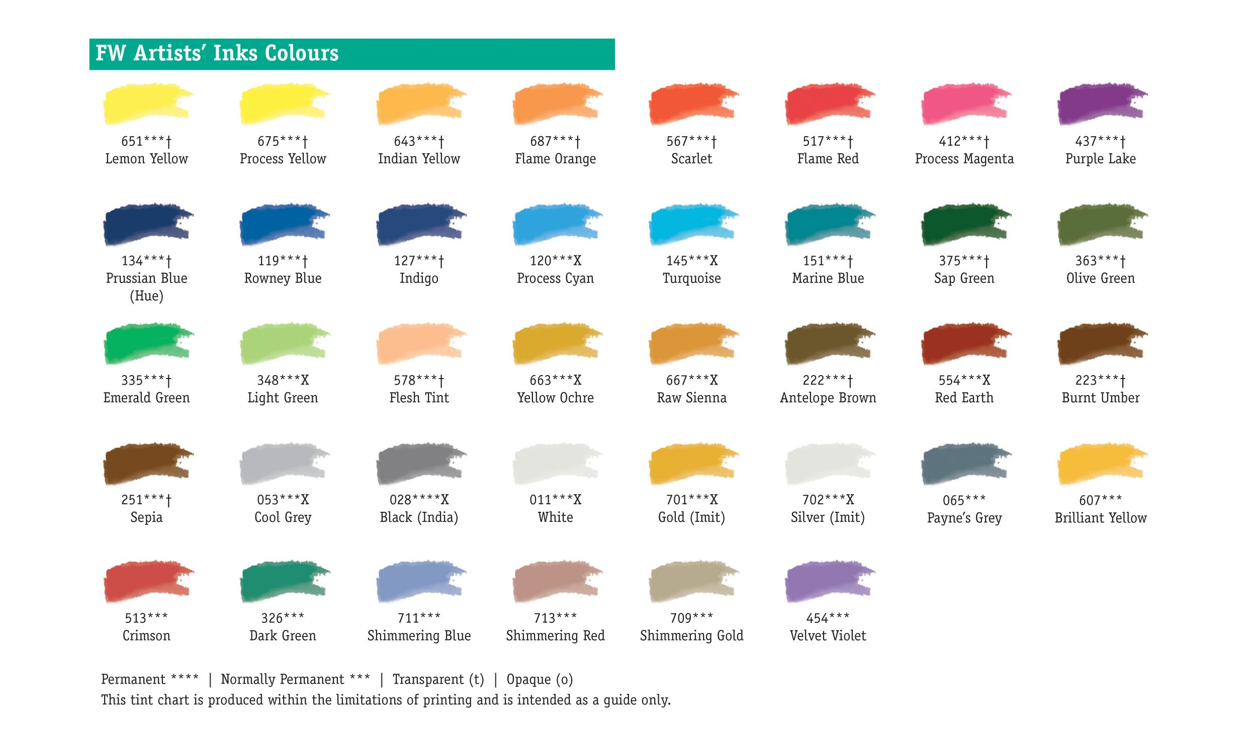 Daler Rowney Fw Ink Colour Chart Art Supplies And