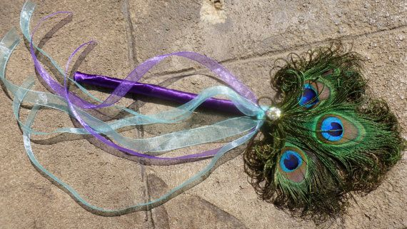 Peacock feather wand fairy wand peacock wedding by DressMyWedding