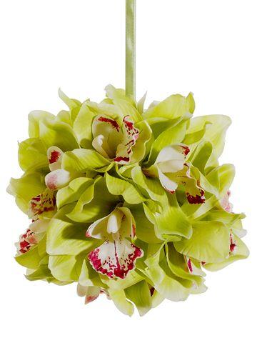Cymbidium Orchid Kissing Ball in Green with Fuchsia Cream Accents | Silk Wedding Flowers | Afloral.com