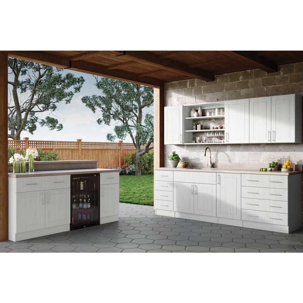 Weatherstrong Assembled 15x30x12 In Palm Beach Open Back Outdoor Kitchen Wall Cabinet With 1 Door Right In Radiant White Wsw1530r Prw The Home Depot Outdoor Kitchen Cabinets Outdoor Cooking Spaces Concrete Outdoor