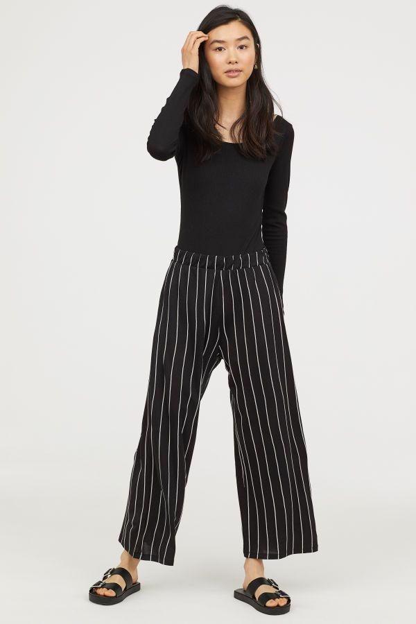 18fc2780e167 Wide-cut Jersey Pants | Black/white striped | DIVIDED | H&M US ...