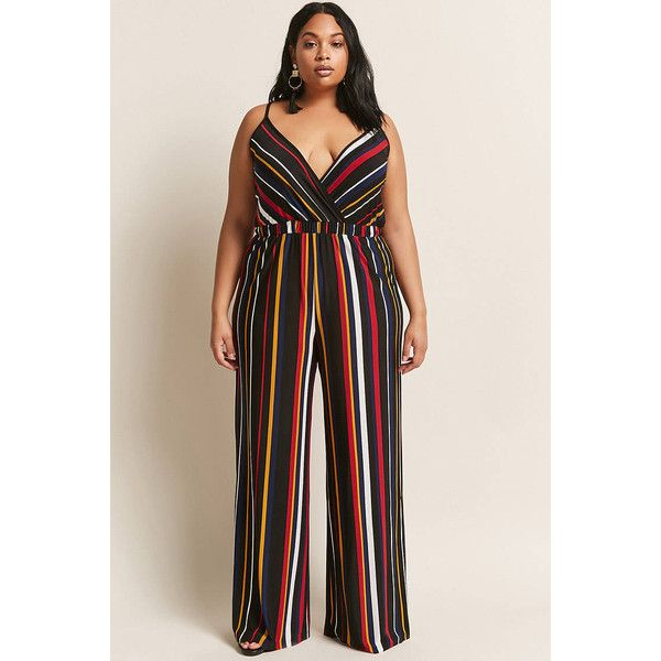 10274ebad20 Forever21 Plus Size Stripe Jumpsuit ( 38) ❤ liked on Polyvore featuring plus  size women s