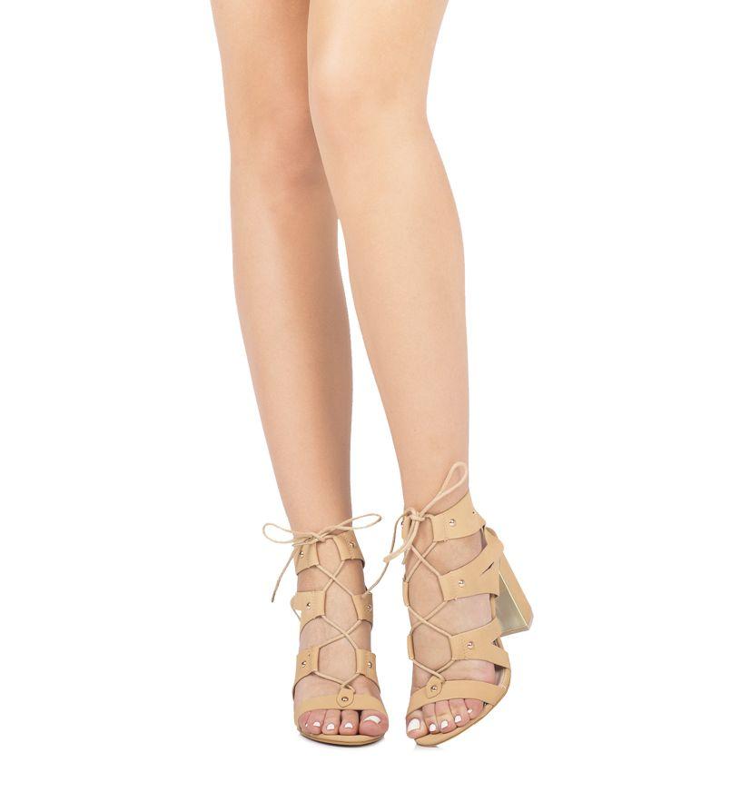 Bezowe Sandaly Contagi Born2be Pl Lace Up Shoes Fashion