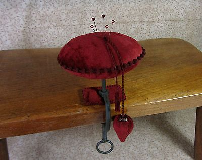 Primitive Hand Dyed Velvet Pincushion Pinkeep Table Clamp & Strawberry Emery Fob