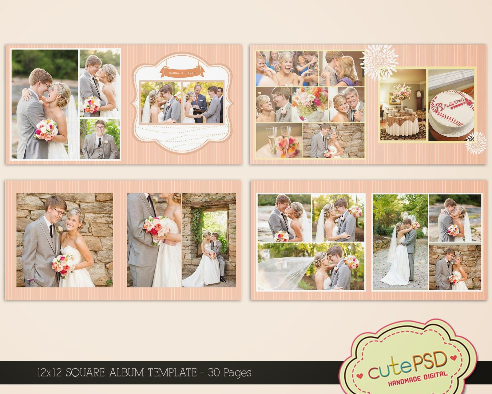 square wedding album template 30 pages shabby peach 12x12 cpz085