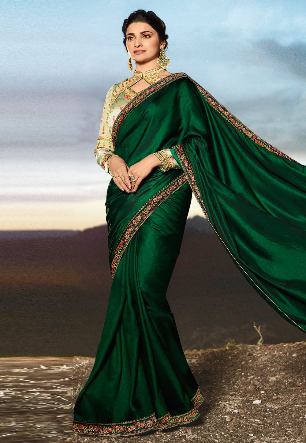 5b32d0b321ea9d Buy Prachi Desai Green Silk Party Wear Saree 155421 with blouse online at  lowest price from vast collection of sarees at Indianclothstore.com.