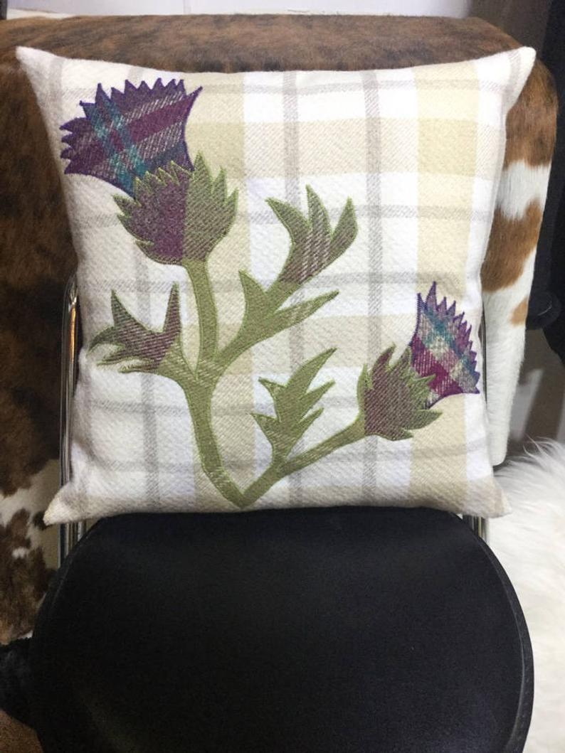 "Flower Of Scotland, Thistle Pillow Tartan Decorative Handmade Purple Cream Cushion Cover, Scottish Gifts Home Decor 16"" x 16"""