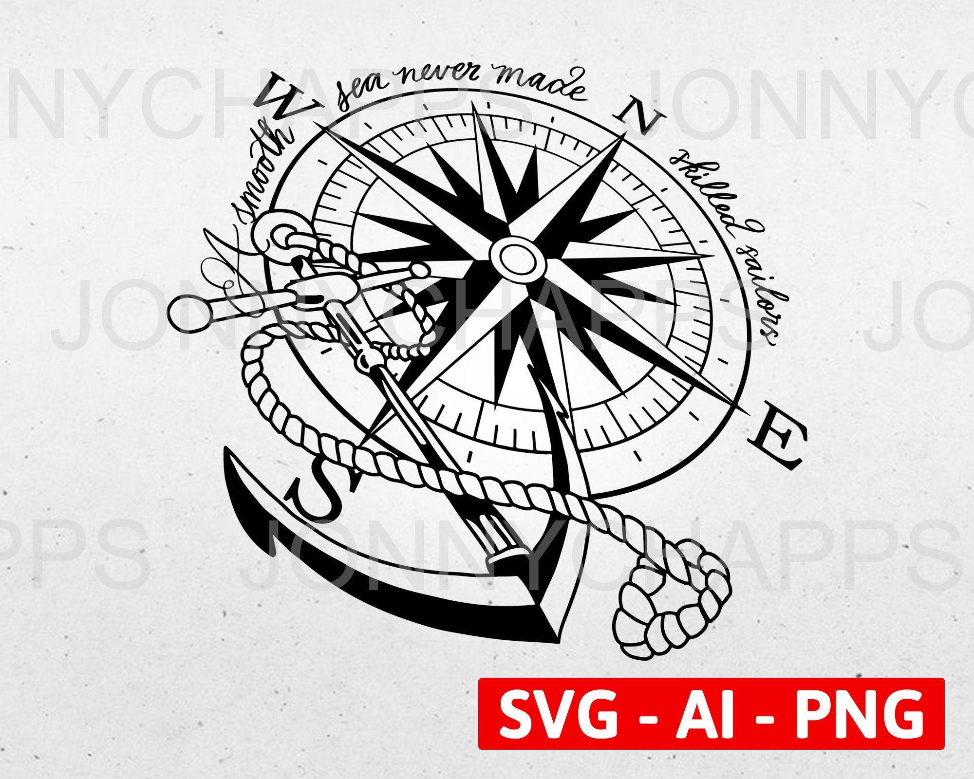 Valentine SVG Compass SVG Love SVG Nautical Svg Printable Cut File for Silhouette Cricut Design Space