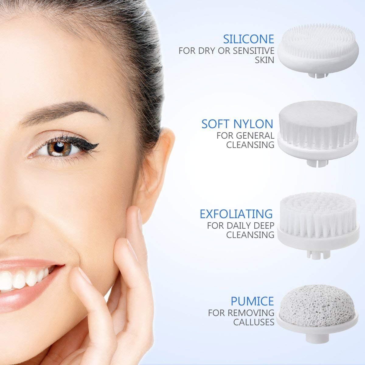 Face Brush Etereauty Waterproof Rotating Facial Cleansing Brush With 4 Brush Heads For Deep Cleansing An Cleansing Brush Face Wash Brush Facial Cleansing Brush
