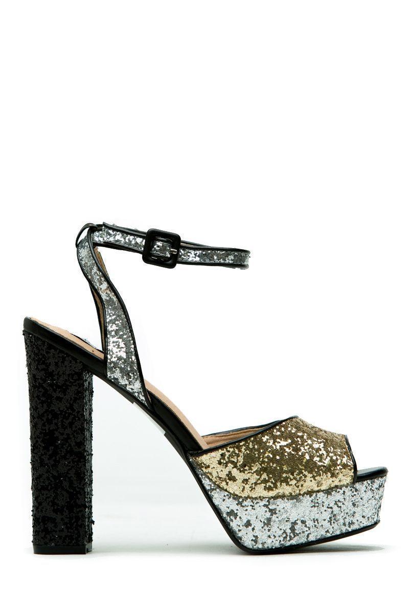 b8cb3102279 Black Multi Glitter Chunky Platform Heels   Cicihot Heel Shoes online store  sales Stiletto Heel Shoes