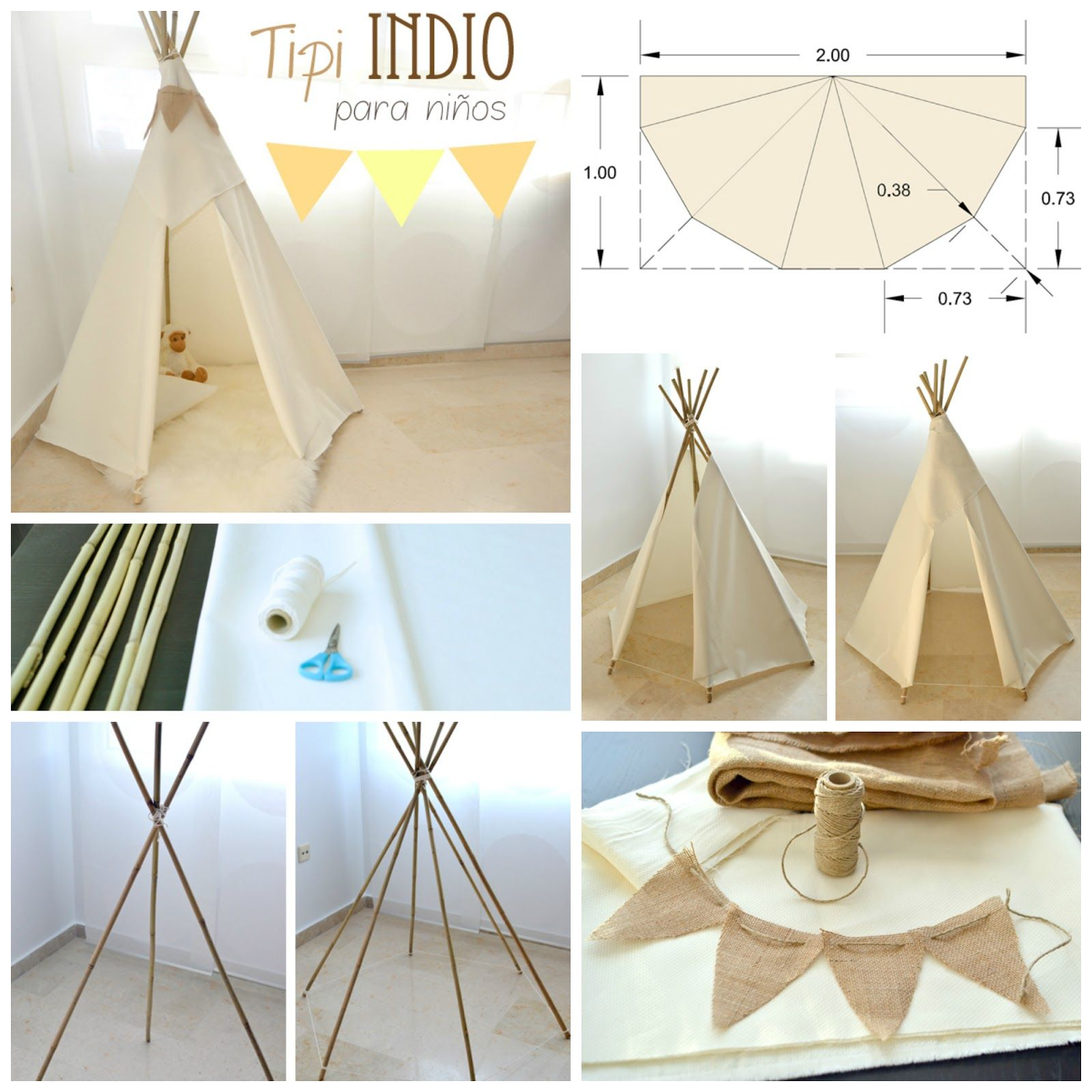 blanco y de madera casa patio pinterest kinderzimmer tipi bauen und zelte. Black Bedroom Furniture Sets. Home Design Ideas