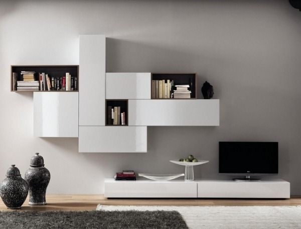 Contemporary TV Wall Lowboard Compartments Hanging Cabinets Wood Matt Glossy Lacquer