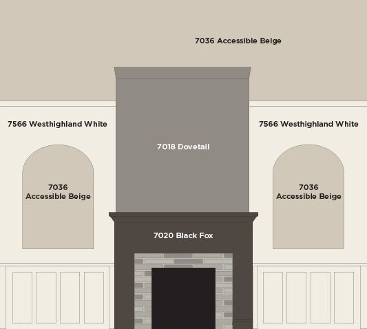 Our great room fireplace wall paint colors by sherwin - Sherwin williams black fox exterior ...