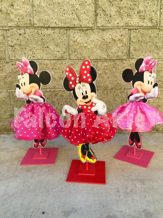 Attractive Minnie Mouse Tutu Birthday Decoration Tutu Pink OR Red Version Wood Table  Centerpiece Favor For Birthday Or Baby Shower ONE PIECE Decoration