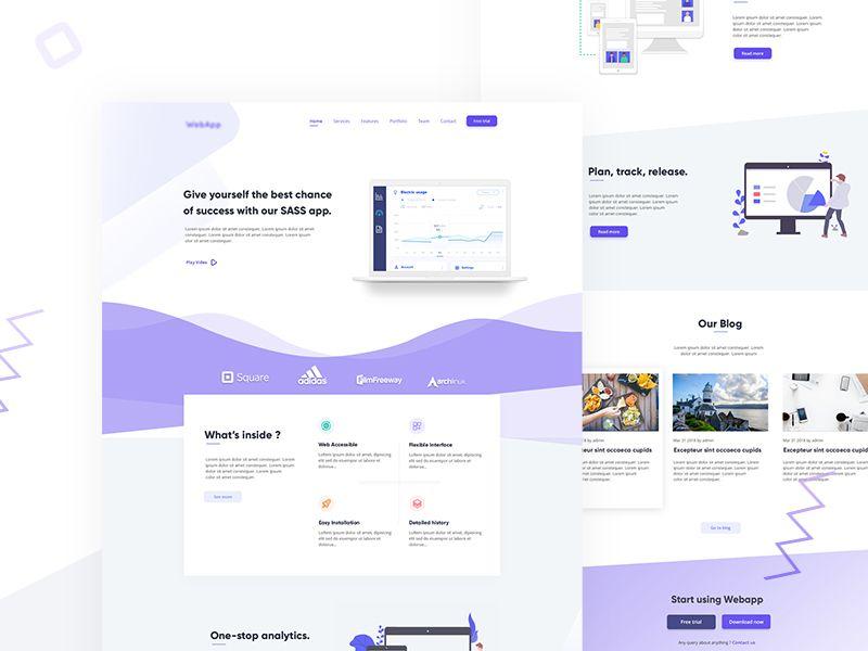 Sass App Landing Page Mild Color Theme App Landing Page Landing Page Website Design
