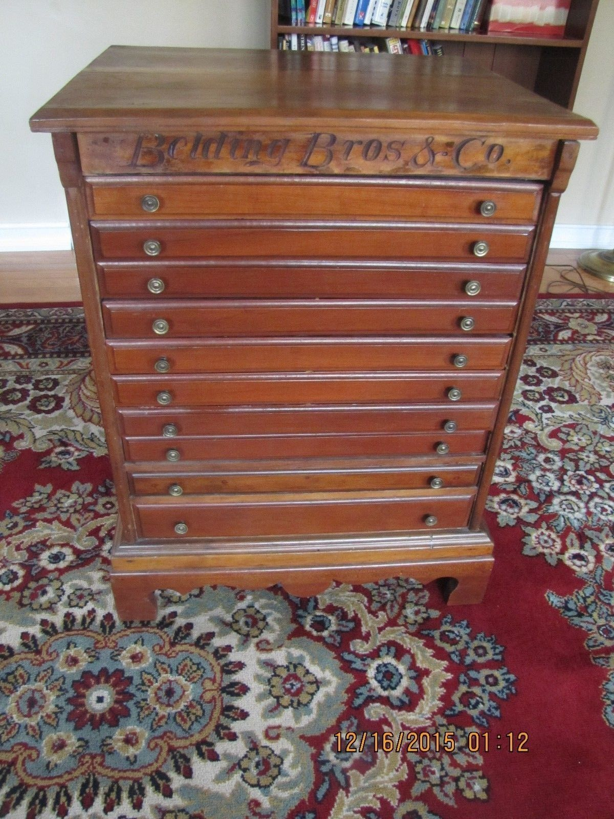 Antique Cherry 10 Drawer Belding Bros Spool Thread Cabinet Country Store Antiques Belding Country Store Display