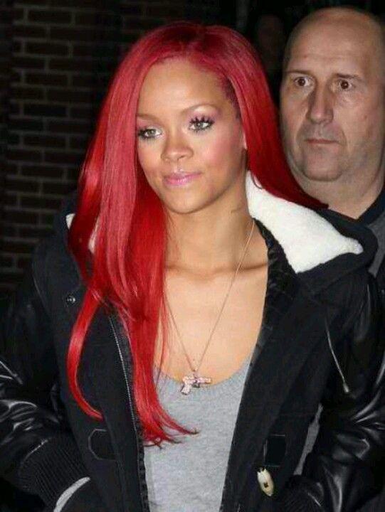 Rihanna Long Bright Red Hair Love It Fabulous Hair Rihanna