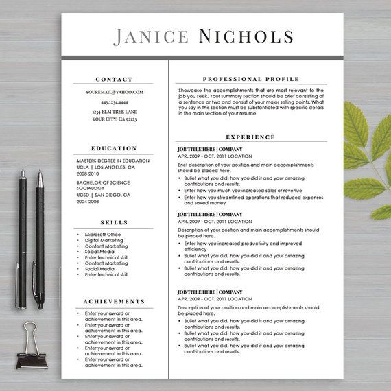 Resume Template For MS Word and Apple Pages 1 and 2 page resume - apple pages resume templates