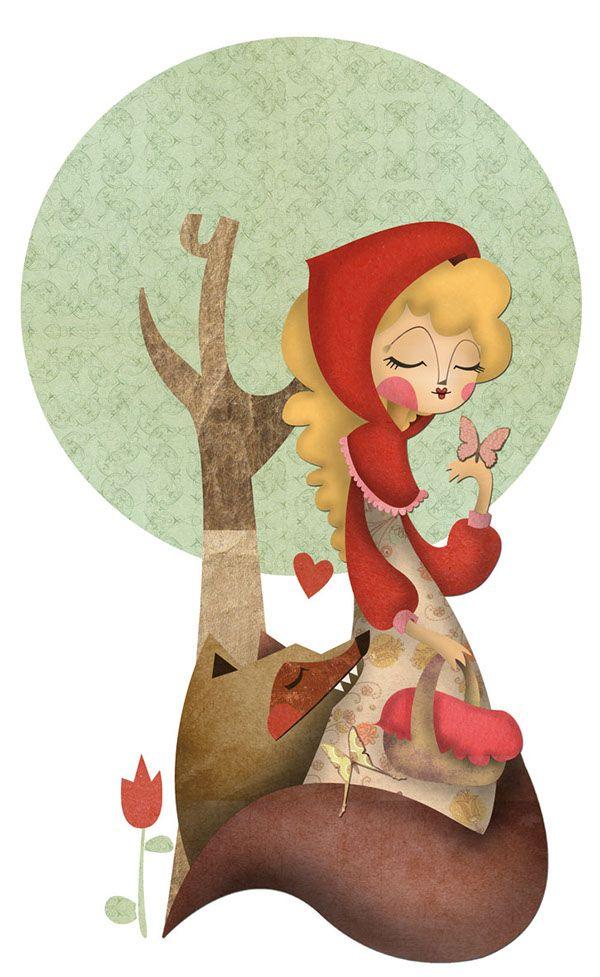 Ilustración infantil vasada en el celebre cuento de Caperucita Roja.Little Red Riding Hood