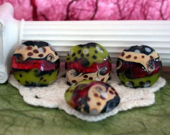 Lampwork Beads, Glass Beads, Lentil Shaped Lampwork Beads GB-012