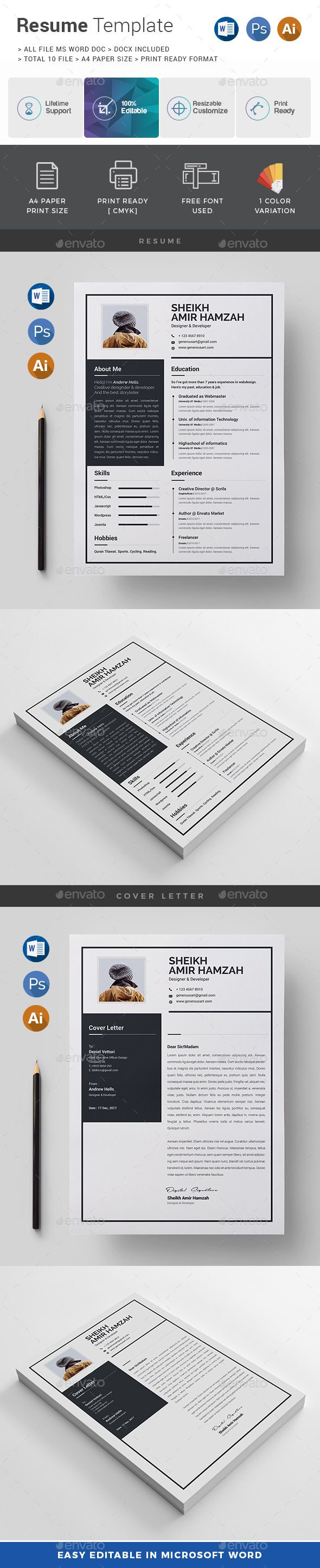 Resume  Template Font Logo And Adobe Illustrator