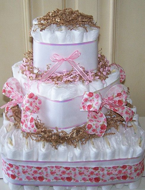 Roses In Bloom Square Diaper Cake With Images Baby Girl Diaper