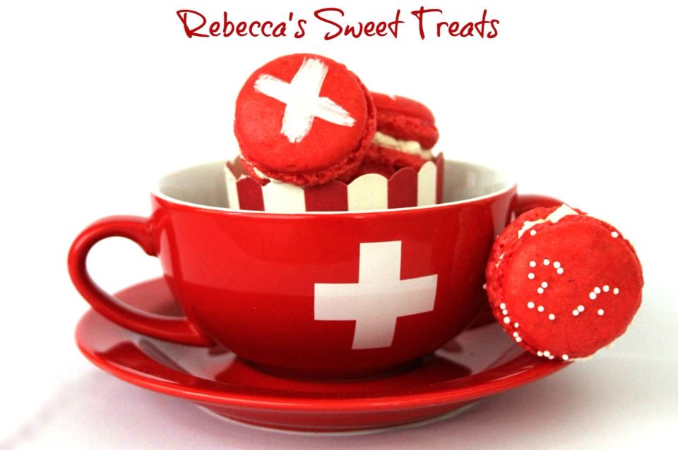 Swiss National Holiday Red White Macarons Happy August
