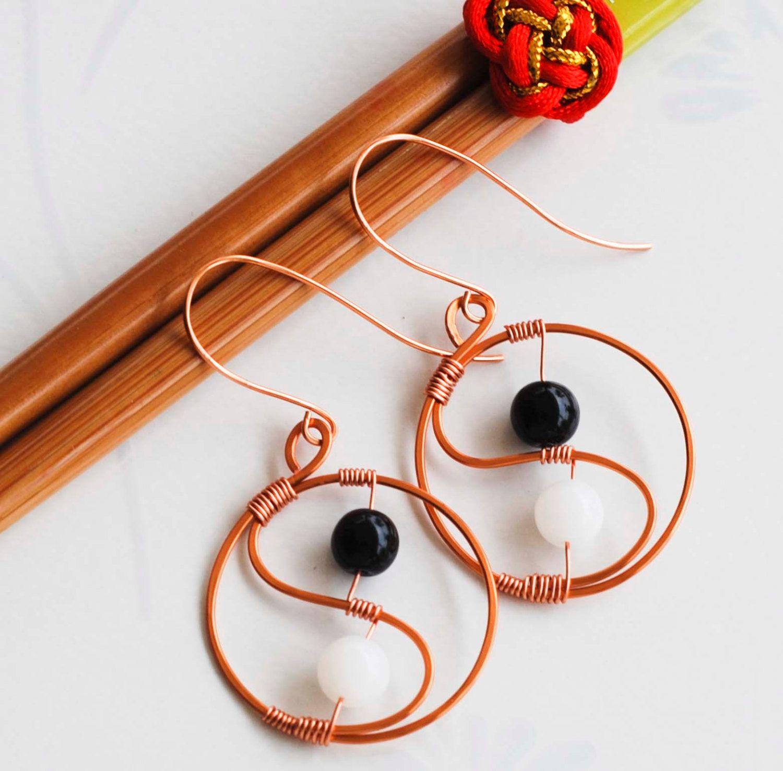 Yin Yang Tai Chi Black and White Glass Copper Wire Wrap Unique ...