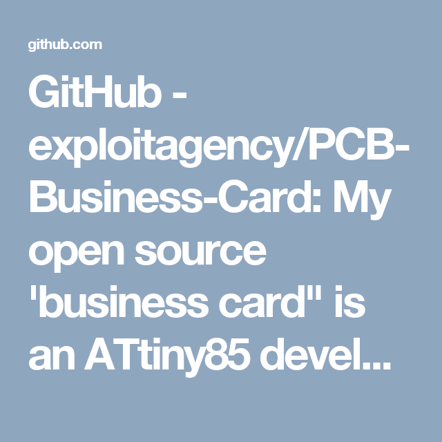 Github  ExploitagencyPcbBusinessCard My Open Source Business