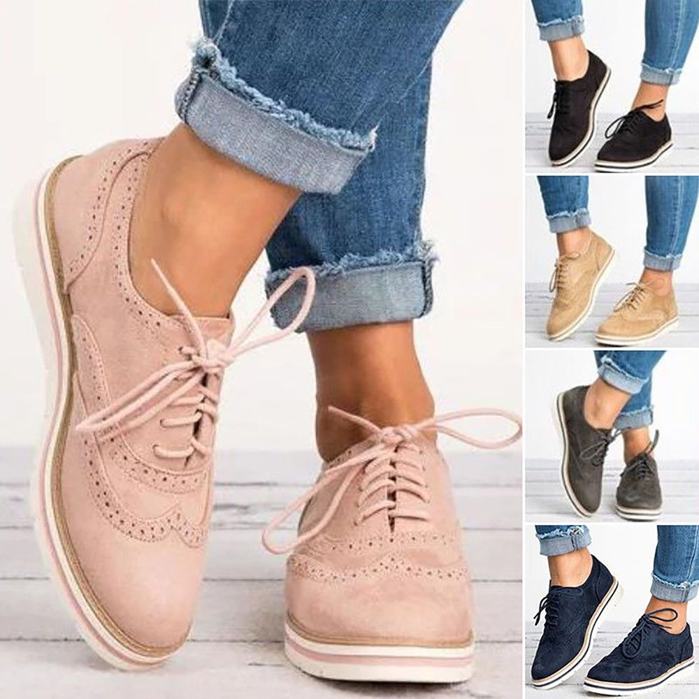 US Women Casual WingTip Brogues Oxfords Dress Formal Stitched Lace