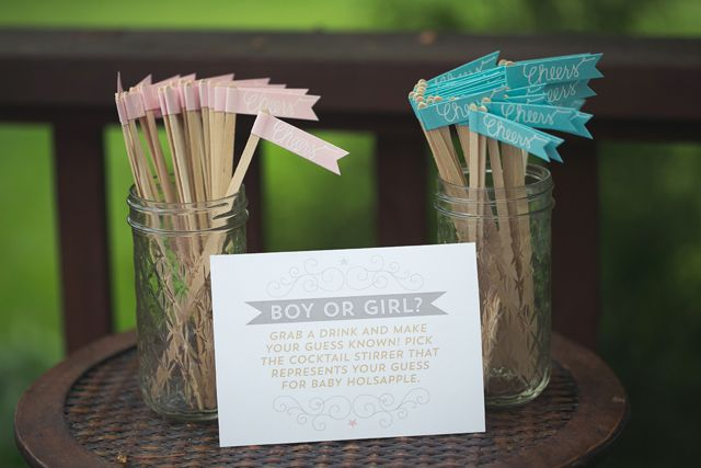 Gender Neutral Baby Shower Idea: pick a cocktail stirrer if you think it's a boy or girl. #babyshower